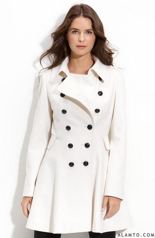 مدل زیبای پالتو زنانه با رنگ سفید