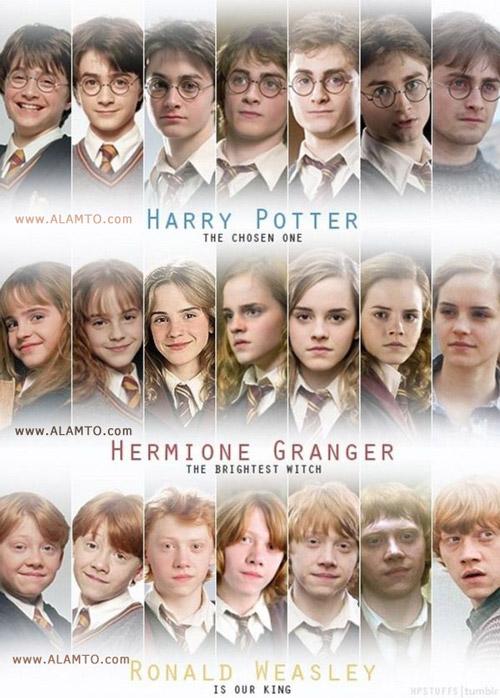 سیر تکامل چهره بازیگران نقش اول فیلم هری پاتر