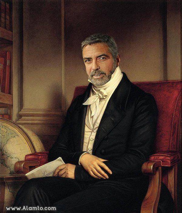 عکس بازیگران معروف هالیود در قالب نقاشی های کلاسیک قدیمی - عکس George Clooney