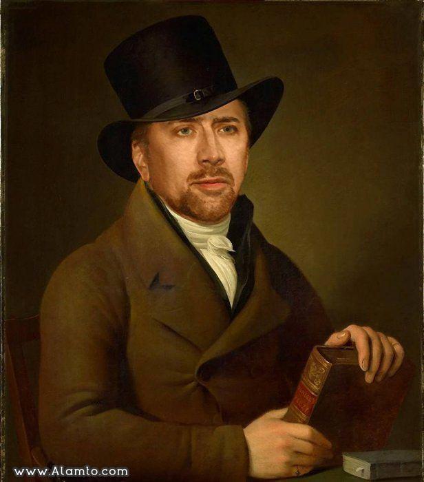 عکس بازیگران معروف هالیود در قالب نقاشی های کلاسیک قدیمی - عکس Nicolas Cage