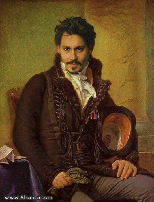 عکس بازیگران معروف هالیود در قالب نقاشی های کلاسیک قدیمی - عکس Johnny Depp
