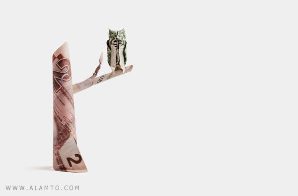 ساخت اشکال زیبا با استفاده از اسکناس ! هنر اریگامی