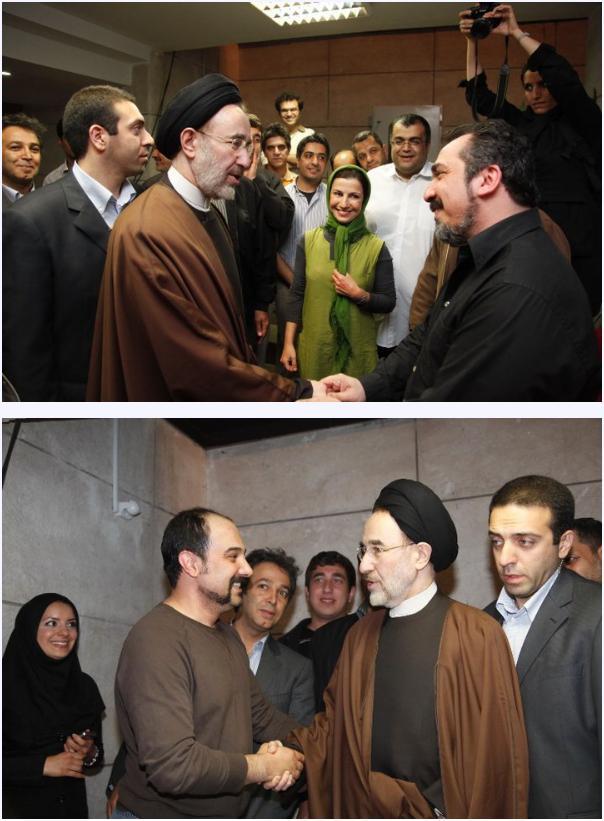 تصاویر بازدید محمد خاتمی از پشت صحنه سریال قهوه تلخ
