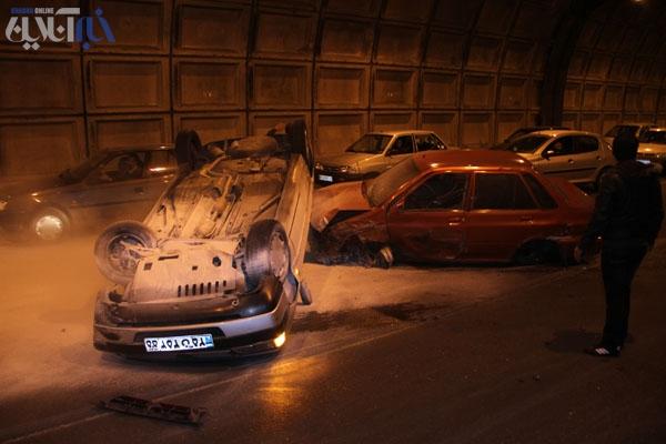 تصاویر تصادف مهیب درتونل رسالت | www.Alamto.Com