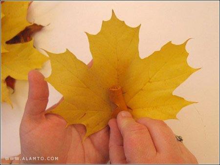 آموزش تصویری : ساخت یک دسته گل روز از برگ درختان