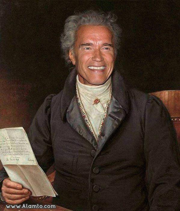 عکس بازیگران معروف هالیود به شکل نقاشیای سنتی قدیمی - عکس Arnold Schwarzenegger