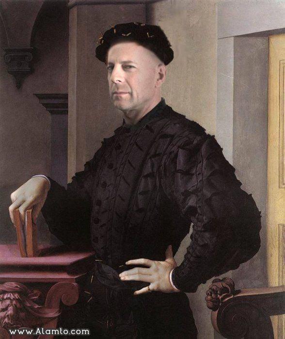 عکس بازیگران معروف هالیود به شکل نقاشیای سنتی قدیمی - عکس Bruce Willis