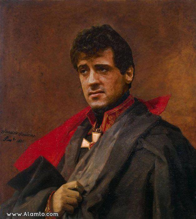 عکس بازیگران معروف هالیود به شکل نقاشیای سنتی قدیمی - Sylvester Stallone