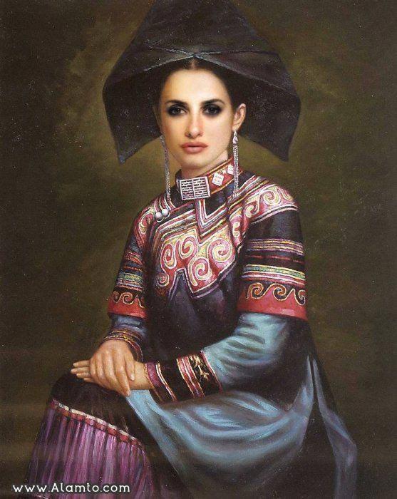عکس بازیگران معروف هالیود به شکل نقاشیای سنتی قدیمی - عکس enelope Cruz