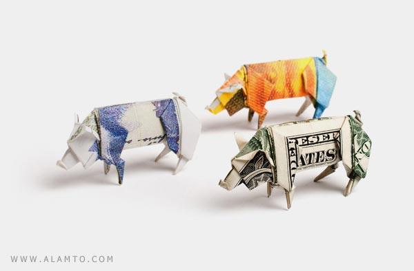 ساخت اشکال قشنگتر با به کار گیری اسکناس ! هنر اریگامی